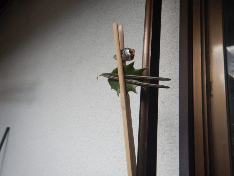 鰯とヒイラギ・コウヤマキの葉で作った魔除け